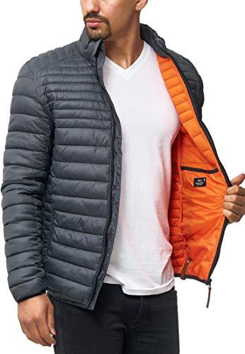 Indicode Herren Islington Steppjacke in Daunenjacken-Optik mit Stehkragen | gefütterte sportliche Übergangsjacke Moderne leichte Winterjacke modische Jacke für Männer Dk Grey XL