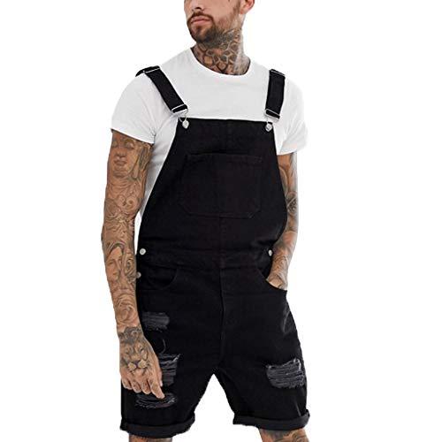 MNRIUOCII Herren Latzhose Jeans,MäNner Shorts Lose Jumpsuit Overall Mode Einfarbig Kurze Hosen Jeanshose Loose Fit Kurze Hose Jeans Overall Jeanslatzhose