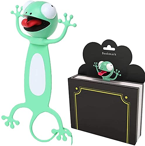 3D Cartoon Tier-Lesezeichen, Bookmark Animal, Lesezeiche Lustiges Geschenk für Junge Mädchen und Erwachsene, Geeignet für Kinder, Erwachsene, Leseliebhaber, Partys(F-Gecko)(Ca. 6.7cm)