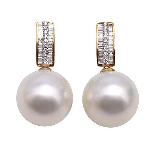 JYX Orecchini pendenti con perle in oro 18 K AAA+genuino 15 mm bianco naturale perla coltivata del mare del sud orecchini per le donne, anniversario, compleanno regali della mamma