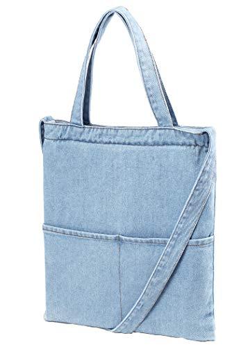 Luna et Margarita Borsa a mano con tasca in 100% cotone Denim Blue 4L Borsa a tracolla con cerniera per donna e ragazza