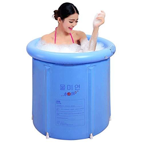 BAHLDOW Draagbare Badkuipen Japanse Vrijstaande Badkuip Opblaasbare Flexibele Kunststof Volwassen Grootte Opvouwbaar Dikke PVC Kunststof Materiaal 2 Persoon Opblaasbare Hot Tub