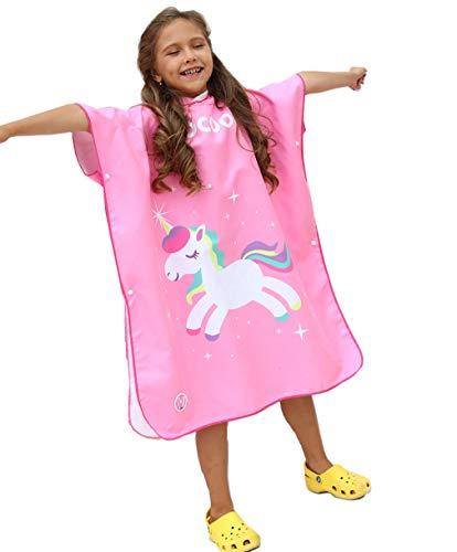 Xlabor Poncho de baño para niños con capucha, microfibra, secado rápido, toalla de playa, albornoz, toalla de ducha, natación, surfing, playa, motivo: B L