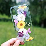 Crystal_phonecase Handmade Resin Pressed Dried Real Natural Fresh Flower Clear Case for Samsung Galaxy S4 S5 S6 S7 S8 S9 Note34589 (Yellow/Purple Flower, Samsung S6 Edge)