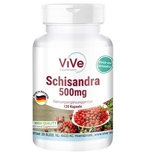 Schisandra Extrakt 500mg - 120 Kapseln - Schisandra chinensis - Wu Wei Zi - 9% Schisandrin - Hochdosiert - Vegan