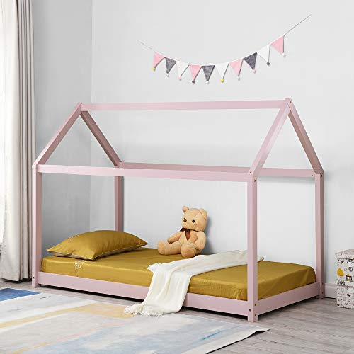 Cherry Tree Furniture Bethwin FSC-Certified Solid Wood House Bed (Pink)