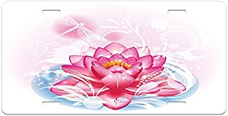 Ambesonne Flower License Plate, Mandala Motif Orient Yoga Theme Lotus Flower with Abstract Mantis and Dots Photo, High Gloss Aluminum Novelty Plate, 5.88