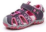 Apakowa Kid's Girl's Soft Sole Close Toe Sport Beach Sandals (Toddler/Little Kid) Purple
