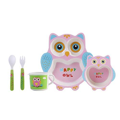 ToyHero® Karikatur Eule 5-teiliges Set Kinder Geschirr Bambus Fiber BPA-Frei Trennen Gericht Baby KleinesKinder Teller Schüssel Tasse Löffel Gabel Kinderbesteck Set