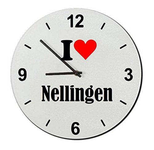 Druckerlebnis24 Glasuhr I Love Nellingen eine tolle Geschenkidee die von Herzen kommt| Wanduhr| Geschenktipp: Weihnachten Jahrestag Geburtstag Lieblingsmensch