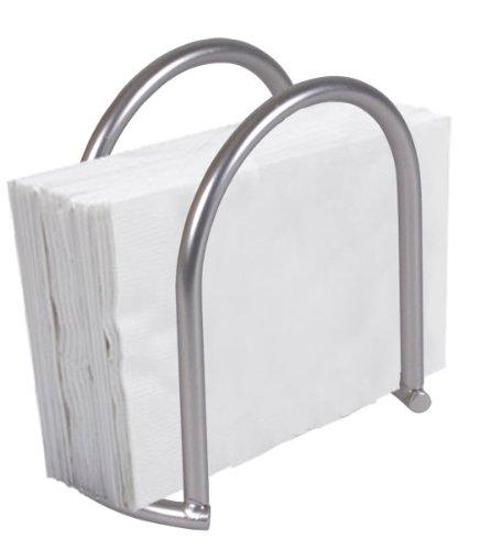 Home Basics Simplicity Collection Heavy Duty Steel Napkin Holder Dispenser Stand, Kitchen Organization, Satin Nickel