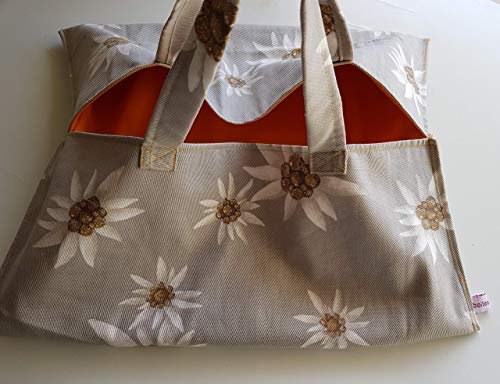 Sac à tarte grand modèle en toile coton motif fleurs edelweiss fond gris et intérieur tissu enduit orange