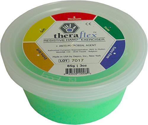 Theraflex Masilla antimicrobiana para ejercicios de mano (85 g, verde – Firme)