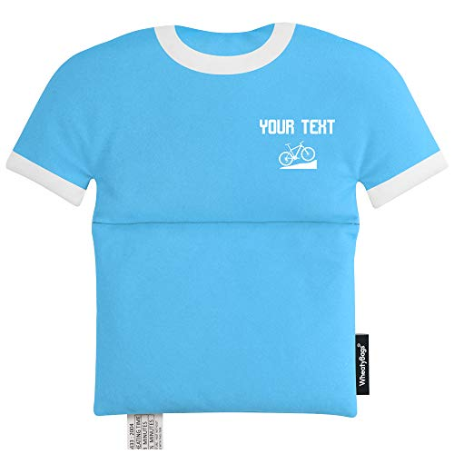 Weizenbeutel in Form eines Sport-Shirts, hellblau, Mountainbike-Symbol