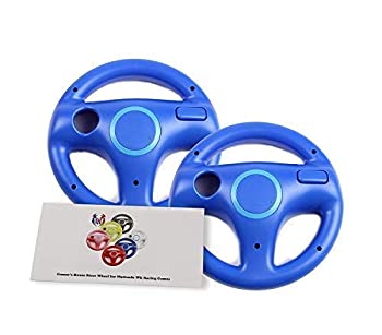 Mario Kart 8 Steering Wheel Compatible with Nintendo Wii  Kinopio Blue 2 Pack  GH Racing Games Wheels for Wii  U  Remote Controller  6 Colors Available