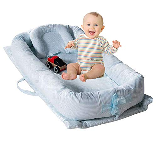 TEALP Kuschelnest Babynest Multifunktionales Nest für Babys Säuglinge Reisebett, 100{b0f0683ce62dec18c0b48282442ccc5d3512124fc0befd978bd93aee000b4ad8} Baumwolle, Blau gestreift 0-24 Monate