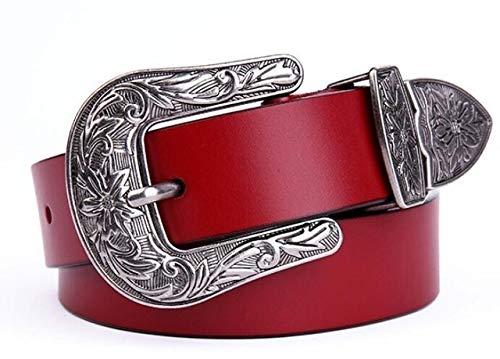 Cinturón de piel para mujer, estilo vaquero, hebilla de metal, cinturón para mujer, cinturones de lujo de marca de diseñador (longitud del cinturón: 95 cm, color: burdeos)