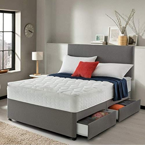 Lavish Grey Suede Divan Bed Set with Quilted 10 Inch Memory Collection Mattress and 20 Inch Headboard (Small Double 4FT, 2 Drawers)