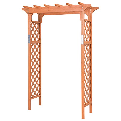 Giantex 7FT Garden Arbor Fir Wood Over High Outdoor Patio Pergola Trellis, Natural (Style 2)
