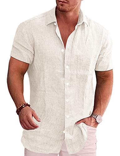 JINIDU Camicia casual da uomo a maniche corte con bottone down Slim Fit, bianco, XL