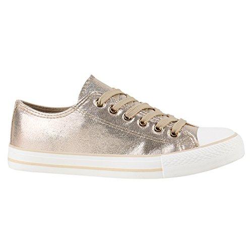 stiefelparadies Sneakers Low Damen Schuhe Glitzer Turnschuhe Freizeit Modisch 144200 Gold Camiri 36 Flandell