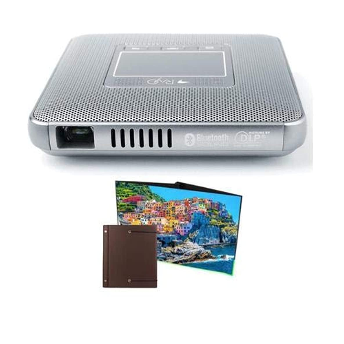 Canon Rayo S1 Mini Projector, 100 Lumens, WVGA, Silver Rayo Portable Table Top Projection Screen, 11.7x16.4, Wide x Tall