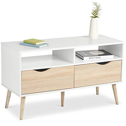 VonHaus TV Unit Scandinavian Nordic Style - White and Light Oak Effect TV Stand, Media Unit, Entertainment & Console Table - Modern, Contemporary Lounge, Dining or Living Room Furniture