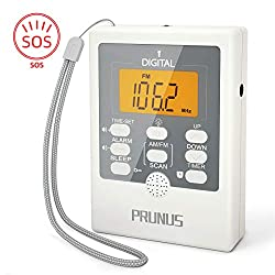 PRUNUS J-157 Portable Pocket AM/FM Radio, Mini Alarm Clock Radio with Sleep Timer, LED Flashlight SOS for Emergency, 2 AAA Battery Operated(Not Included)