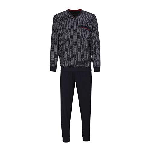 Götzburg Herren Pyjama Schlafanzug lang mit Bündchen (52, Navy)