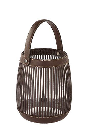 Fink Maretti lantaarn, leder, bruin, 14 x 14 x 18 cm