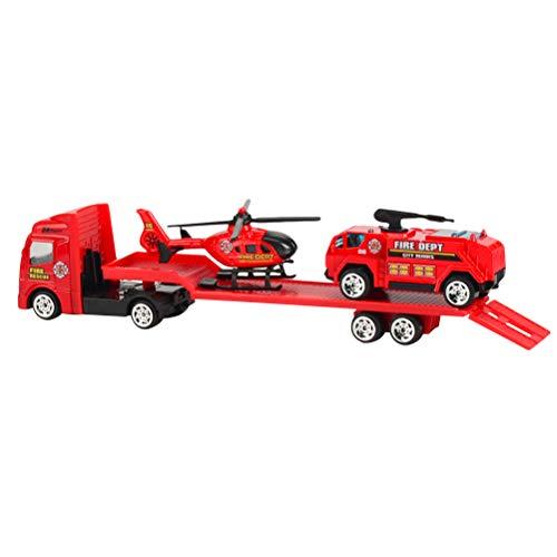 NUOBESTY Juego de Remolque de Juguete Remolque de Plataforma camión de Bomberos camión de Bomberos de Juguete y vehículos de Rescate en helicóptero Juego Tire hacia atrás y Vaya Juguetes (1:64)
