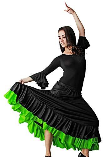 Gojoy shop- Traje Profesional de Baile Danza Flamenco o Sevillanas para Mujer de 2 Piezas (Contiene Body con Doble Volante en Manga y Falda en 6 Colores Disponibles) (Verde, M)