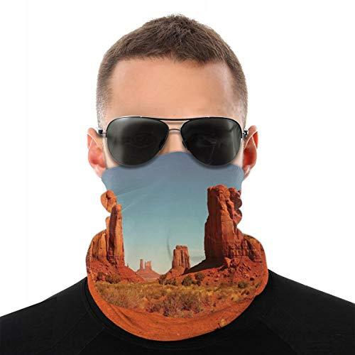 MSGDF Variedad Bufanda de cabeza Windbreak Face Cover 3D, Sunny Hot Day Monument Valley Arid Country Primitive Nation Arizona USA,Calentador de cuello a prueba de viento