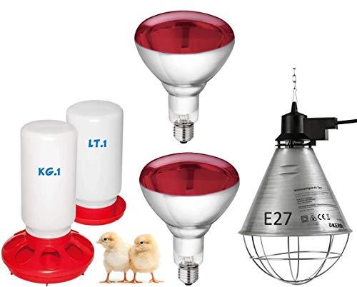 Motisi Zootecnici Nr.2 Lampade da 150 Watt ad infrarossi + Nr.1 riflettore portalampada in Alluminio con...