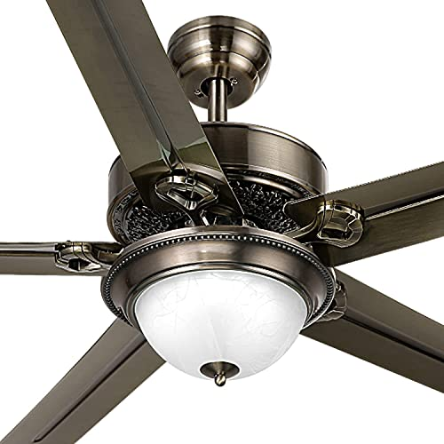 YITAHOME Ceiling Fan with Light and Remote Control, 48 Inch Low Profile 6000K LED Reversible Indoor Fanlights with 3 Light Colors, 3 Speeds and Timing Function, Balance Clips (Oil-Rubbed Bronze) (Renewed)