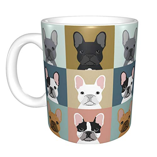 Ceramic Coffee Mug French Bulldogs Dog Funny Tea Cup with handle for Office Home Men Women 11 Oz