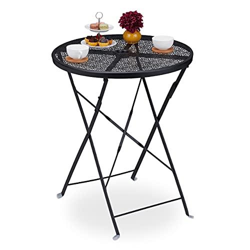 Relaxdays Balkontisch klappbar, HxD: 71,5 x 60,5 cm, wetterfester Gartentisch mit Schirmloch, rund, Stahl, schwarz