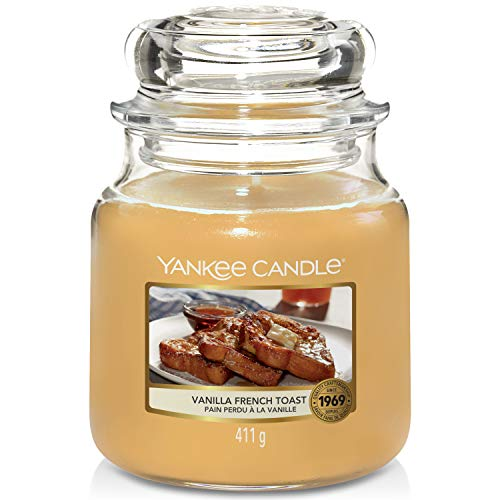 Yankee Candle Scented Candle   Vanilla French Toast Medium Jar Candle   Up to 75 Hours Burn Time