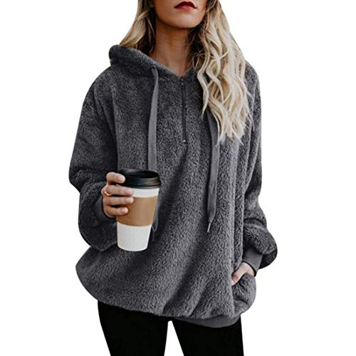 Vertvie Damen Hoodie Kapuzenpullover mit Kapuze und einfarbigen Pullovern Casual Winter Teddy-Fleece Langarm Oversize Sweatshirt Mantel Tops Mit Kapuze(A-Grau, 2XL)