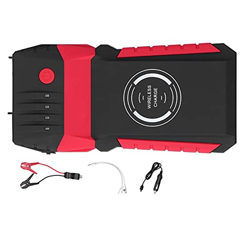 Car Jump Starter Box, DC 12V Portable Jump Starter Amplificadores de batería Cargador de emergencia para automóvil Paquete de carga inalámbrica con faros LED Bolsa de EVA