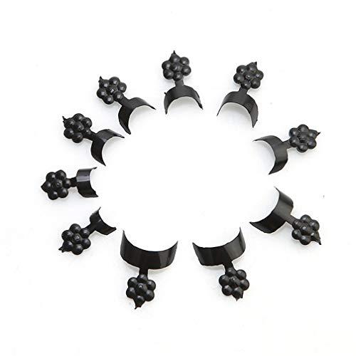 Toporchid 500pcs Faux Ongles naturels Prune Croissant Faux Ongles d'art Conseils pour Les Femmes Fille (Noir)