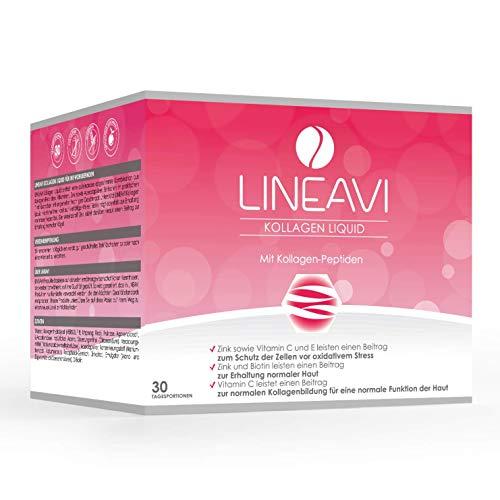 LINEAVI Kollagen Liquid, Trink-Kollagen, mit Kollagen-Peptiden, Acerola, Zink, Vitamin C, Vitamin E, Biotin, unterstützt Haut, Haare und Nägel, in Deutschland hergestellt, 30 Trinkampullen