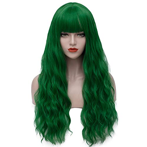 Green Wigs for Women 26'' Long Curly Wavy Hair Wig with Bangs Fahion Cute Heat Resistant Synthetic Wigs for Party Cosplay Costume Halloween AD002GR