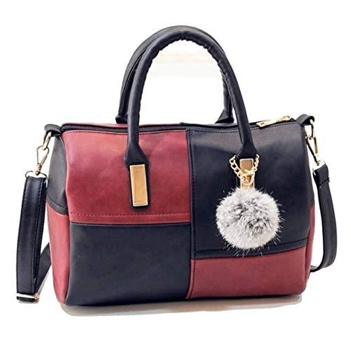 Amazon Black Sales Friday Cyber Sales Monday Sales & Deals Week 2018-Women Patchwork Bag Soft PU Leather Handbags Shoulder Bags Ladies Purse Messenger Bags rojo rosso M