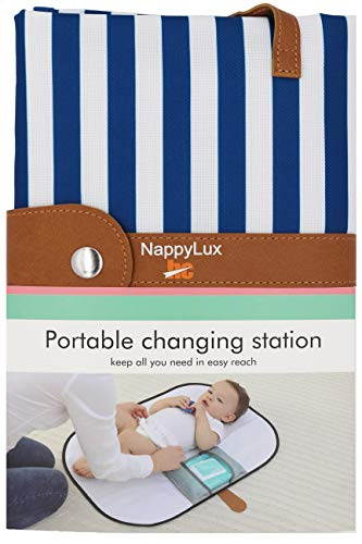HC NappyLux   Blue and White Stripe   Portable Nappy Changing Station  ...