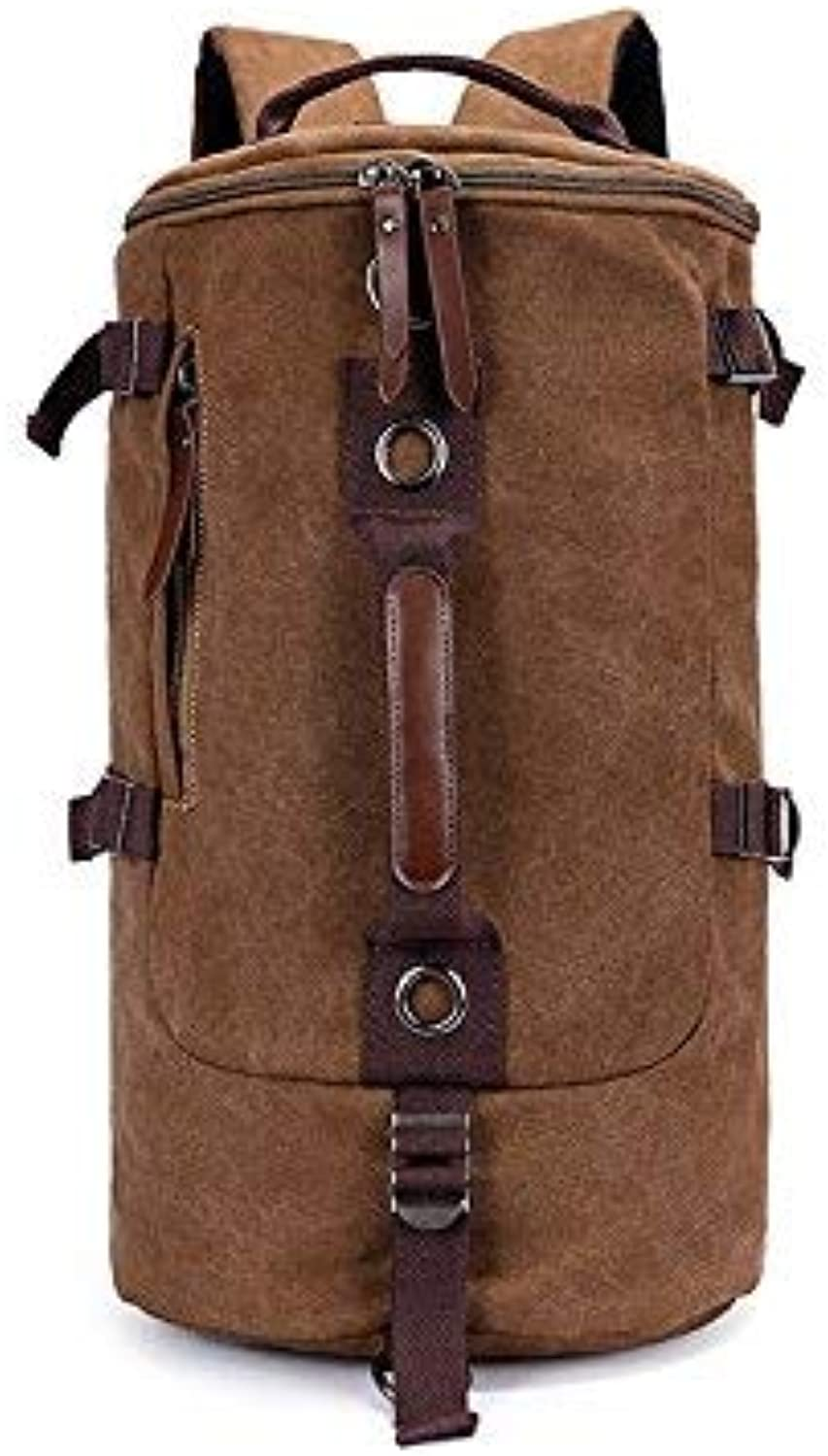 IANXI Home Outdoor and Indoor Canvas Backpack Shoulder Diagonal Casual Men's LargeCapacity MultiPurpose Travel Bag Mountaineering Bags(Coffee)