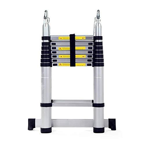 JHNEA Escalera Telescópica, Multiusos de Aluminio Escaleras de Mano Extensible Household Stepladder Portátil Escalera pies Antideslizantes apoyan 330 Lbs,2.5m/8.2ft