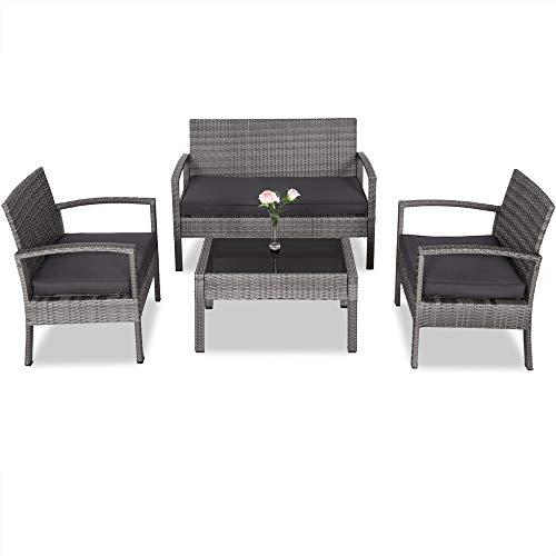 Casaria Poly Rattan Garden Furniture Set 4+1 Lounge Patio Balcony Grey 7 cm Seat Covers Glass Table Top Weatherproof Aluminium