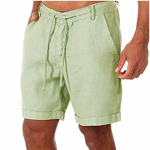 Nuevo 2021 Pantalones Cortos Hombre Verano Casual Moda Algodón y lino Pantalones Corto Color sólido Jogging Deportivos Pantalon Fitness shorts Cordón playa Bañador Cómodo Chándal de hombres