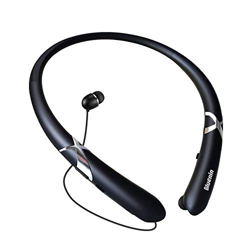Bluetooth Headphones, Bluenin Bluetooth 5.0 Neckband Wireless Headphones Noise Cancelling Headset with Carrying Case Retractable Earbuds Stereo Earphones with Mic (Matte Black)
